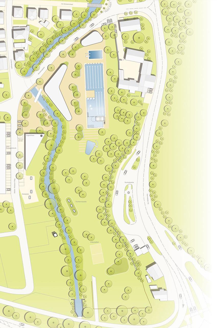 Lageplan Freibad Schwimmbecken