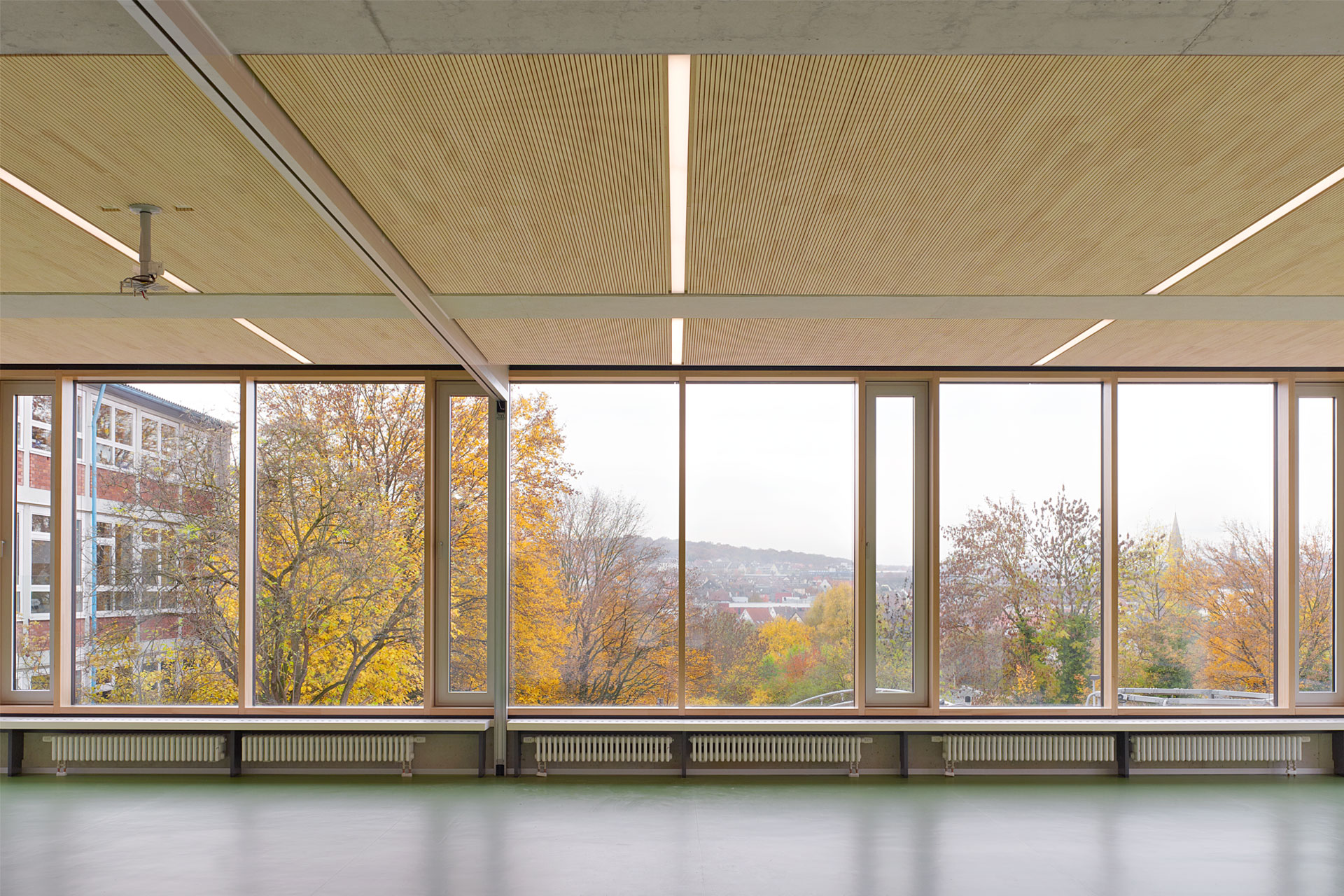 Architekt, Schülermensa, Holzakustikdecke, Linoleum