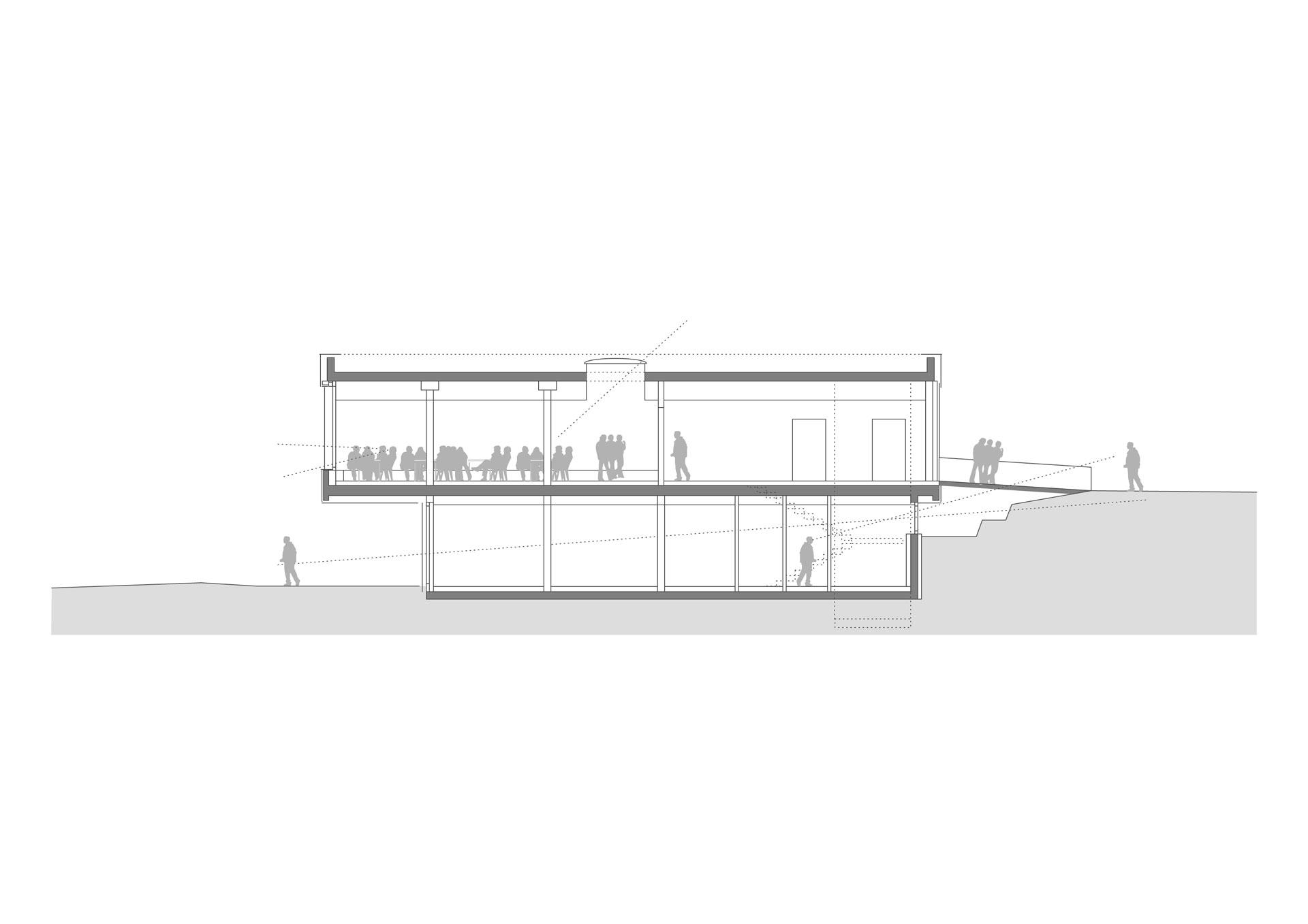 Architekt, Erweiterungsneubau Mensa, Schnitt Außen