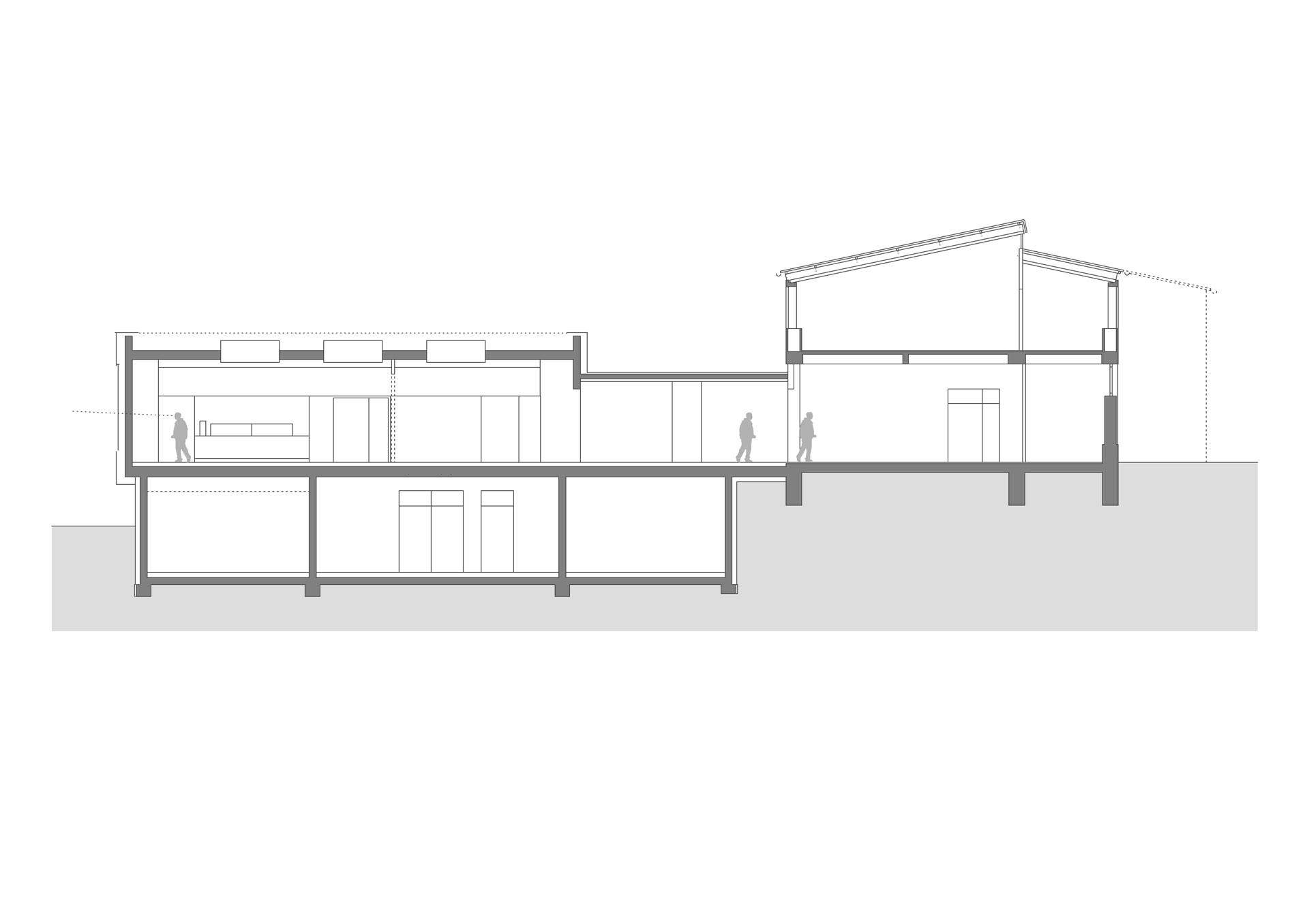 Architekt, Erweiterungsneubau Mensa, Schnitt