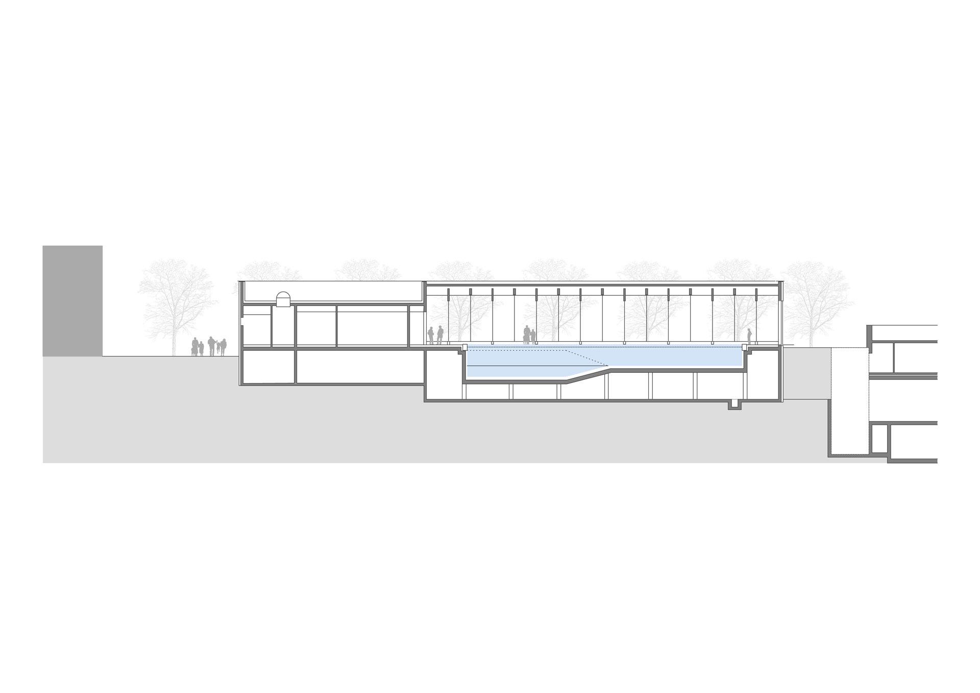 Hallenbad Neubau, Schnitt Schwimmbecken