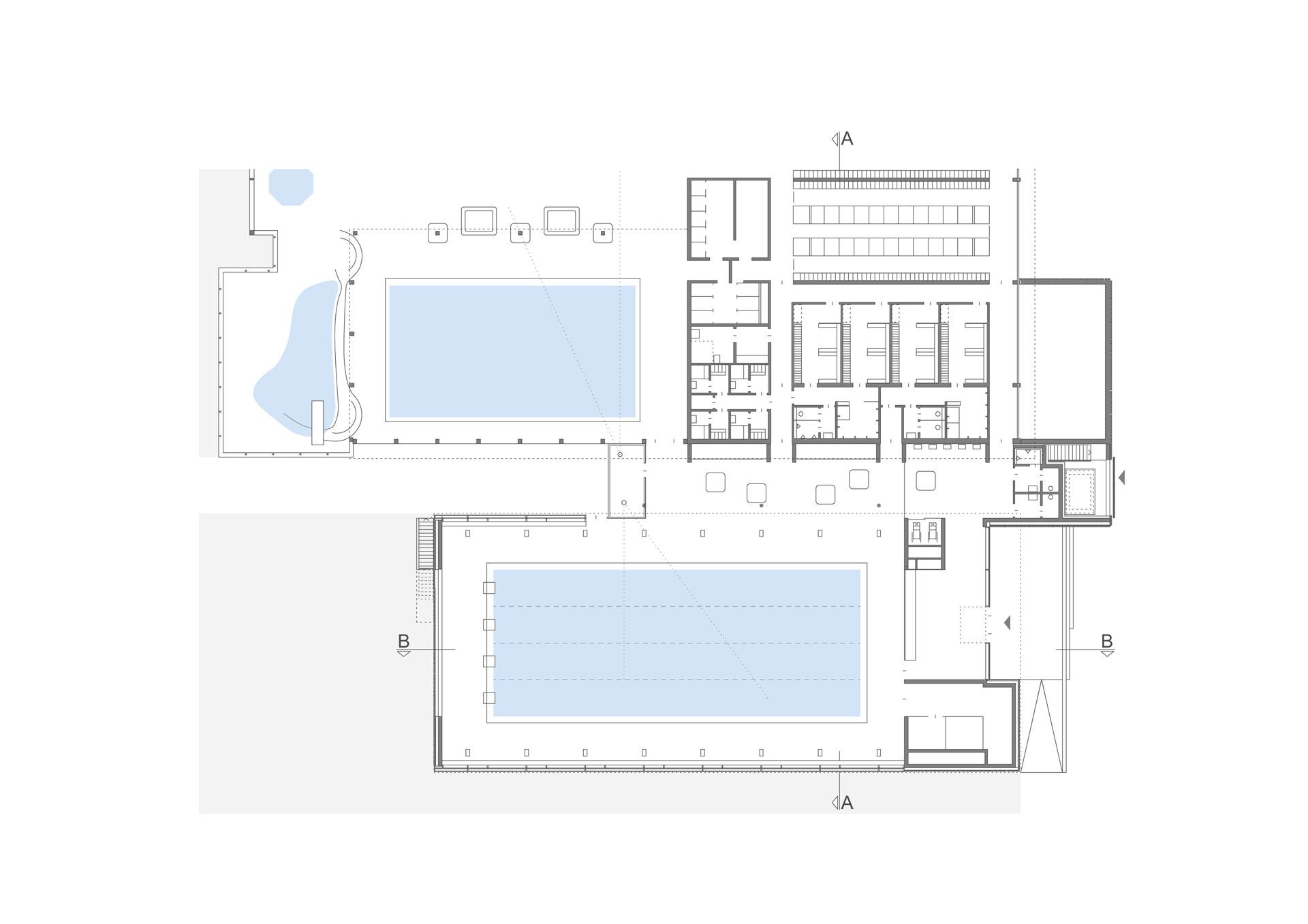 Architekt, Hallenbad, Grundriss. Neu Edelstahlbecken