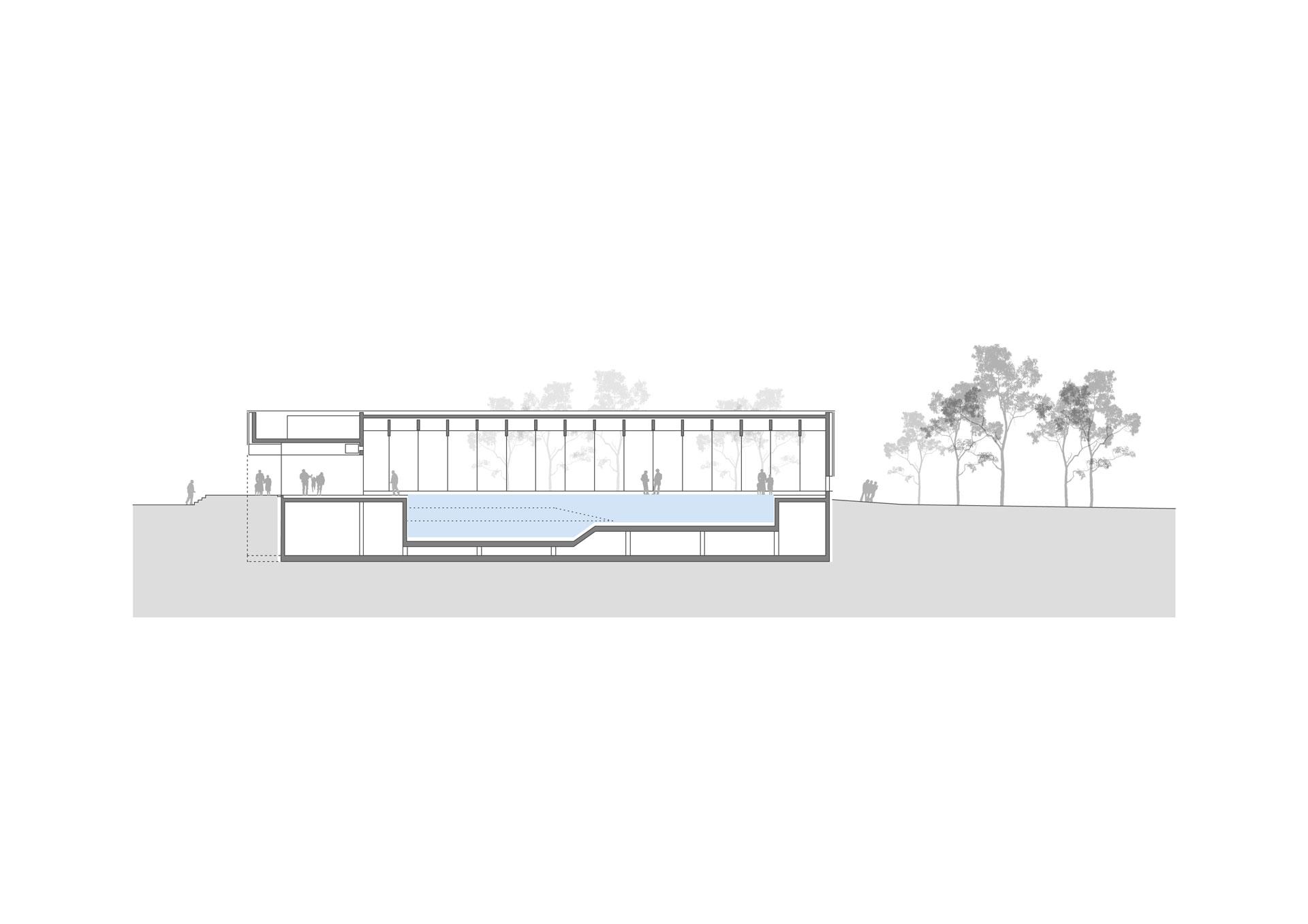 Architekt, Hallenbad, Schnitt, Edelstahlbecken